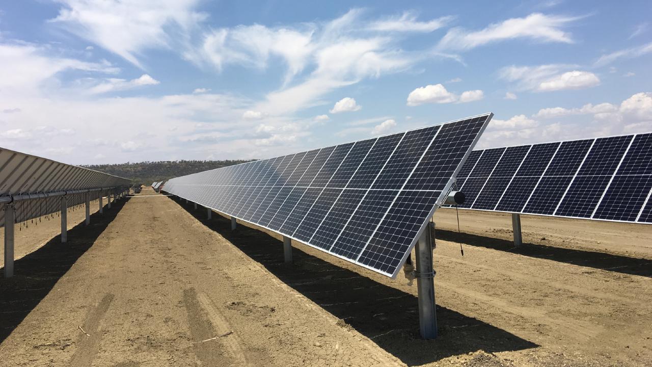 Solar panels at Windlab's Kennedy Energy Park near Hughenden in Queensland
