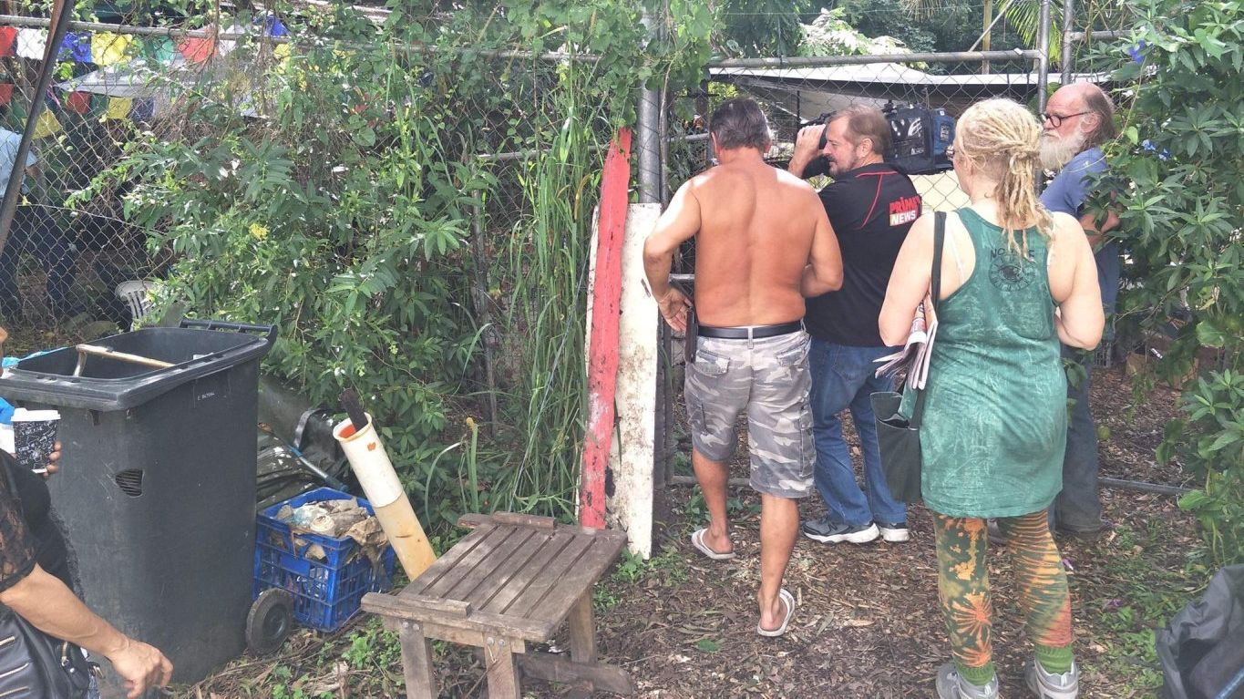 A police raid is under way at the Nimbin Hemp Embassy.