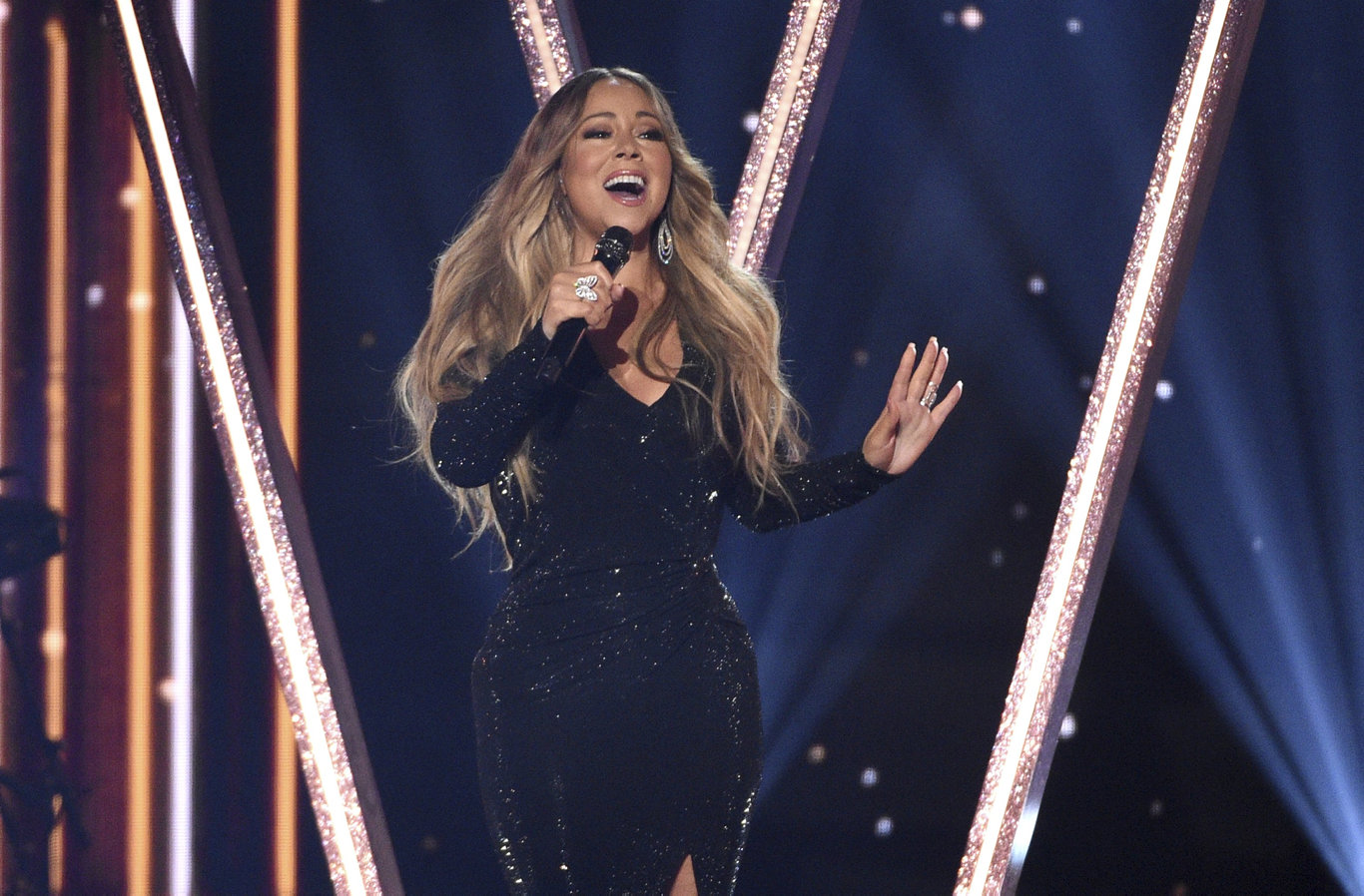 Mariah Carey performs a medley at the Billboard Music Awards in Las Vegas.