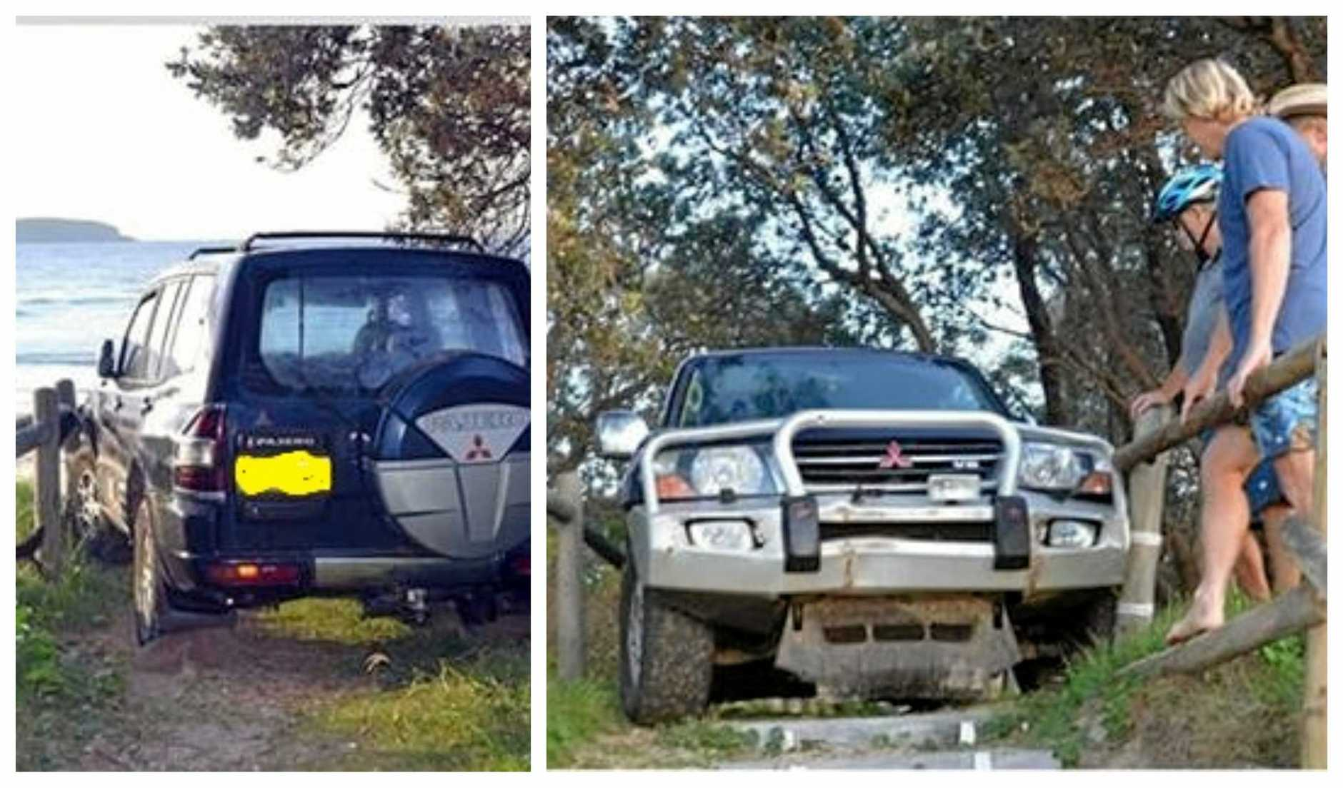 Police say the Pajero has been linked to the damage caused to Woolgoolga's much-loved shipwreck Buster.