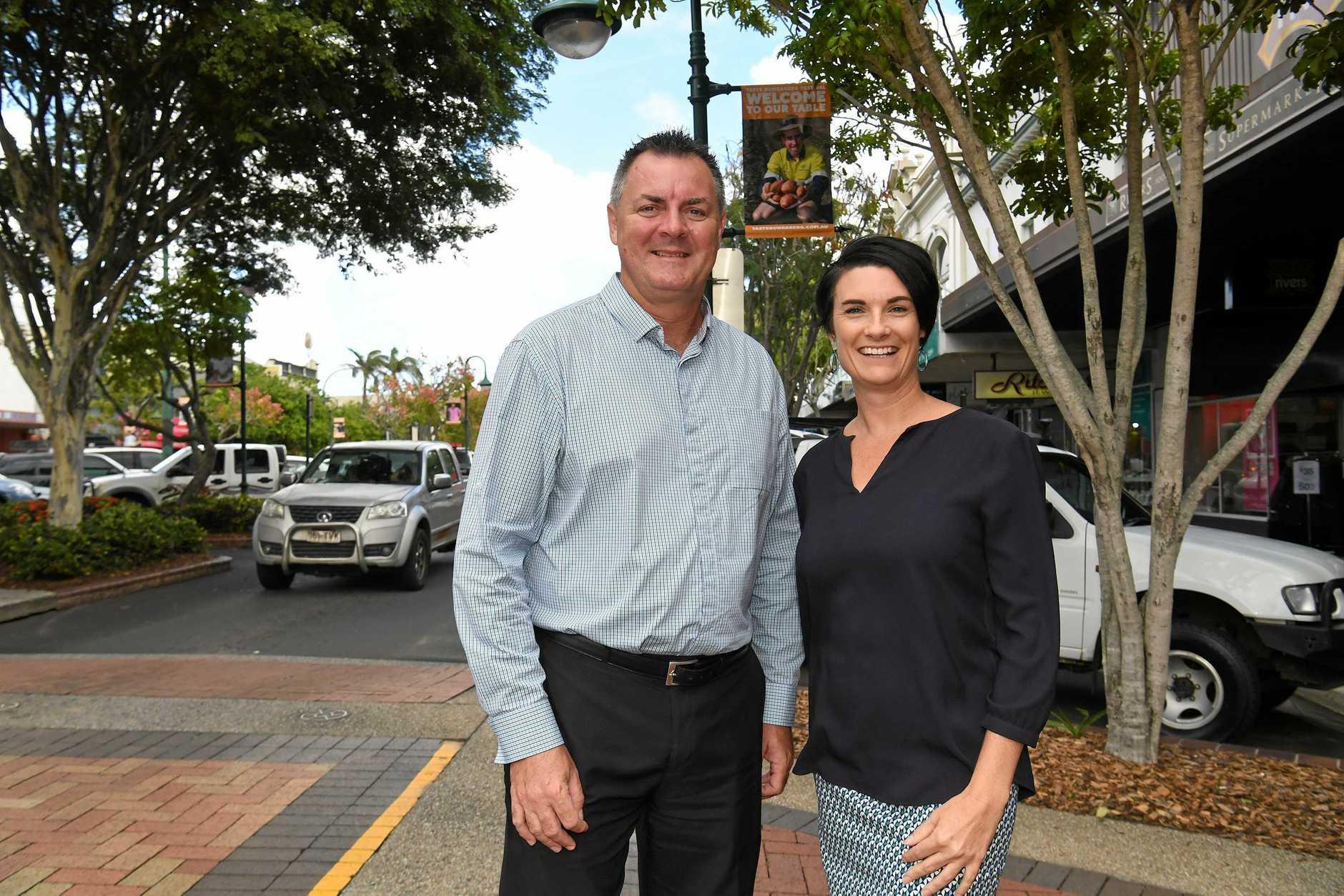TASTE BUNDABERG: Bundaberg Chamber of Commerce president Yale Morgan with Tourism general manager Katherine Reid.