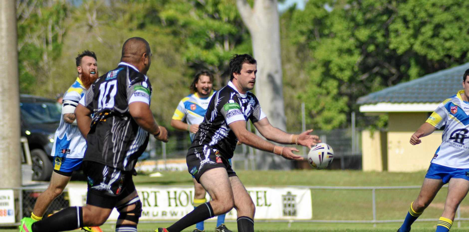Lower Clarence Magpies' Alex McMillan featured in the halves in their loss to the Casino Cougars.