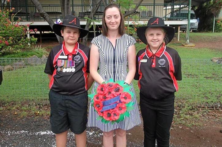 Anakie State School principal Melina Kemp with school captains Nicholas McDonald and Grace Lines.