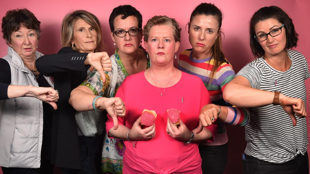 Launch of Pink Buns with all campaign faces there after their ad has been banned from Facebook. Judy Sammut, Emma Dumas, Kate Murray, Lindsey Kennedy, Nina Schofield and Catherine Mitchell. Picture: Tony Gough