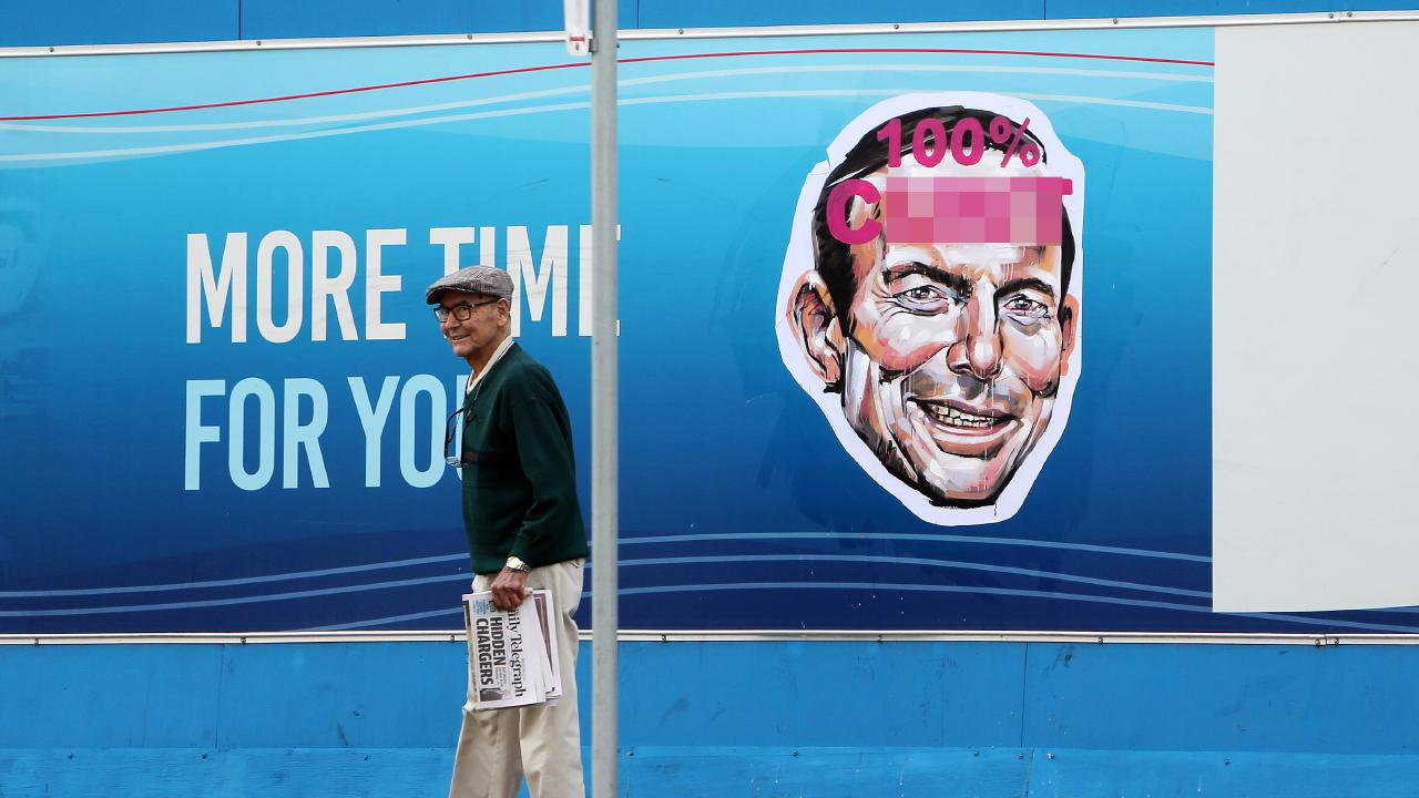 One of the offensive posters of former prime minister Tony Abbott on Spit Road in Mosman today. Picture: Tim Hunter.