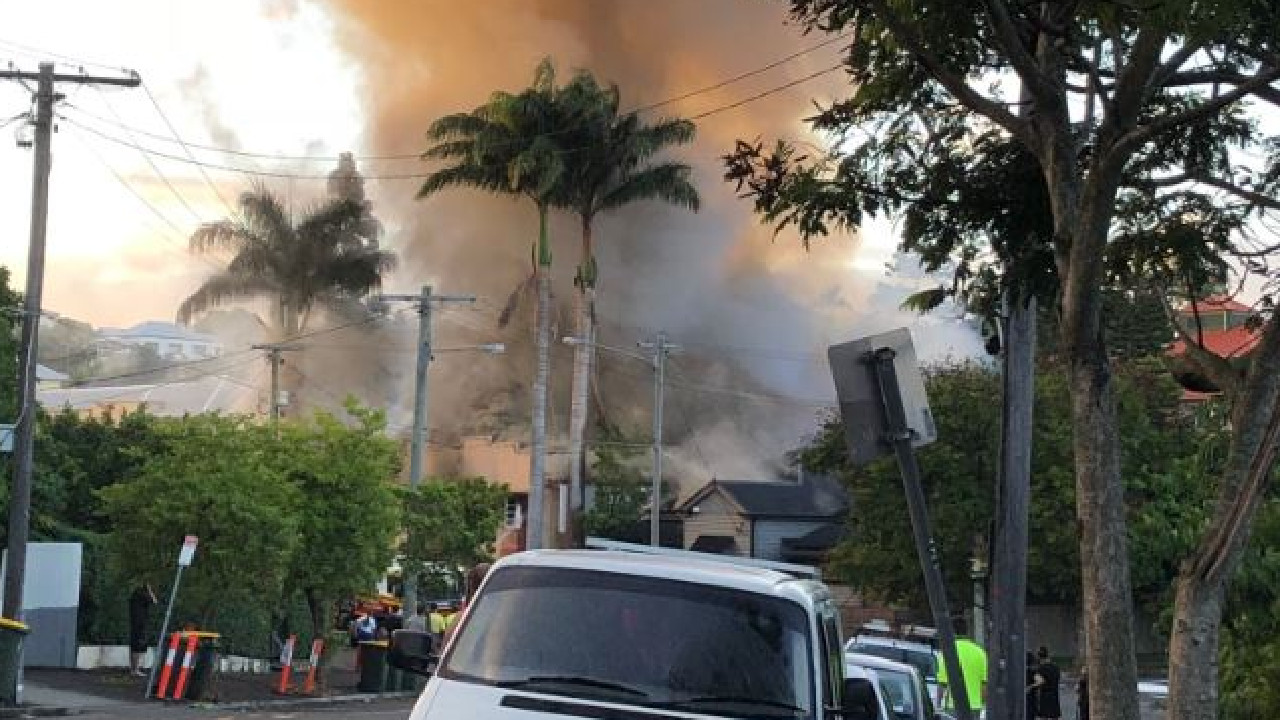 Emergency crews are battling a large fire in the Brisbane suburb of West End, with Vulture St closed. Picture: Peter Taggart/Twitter