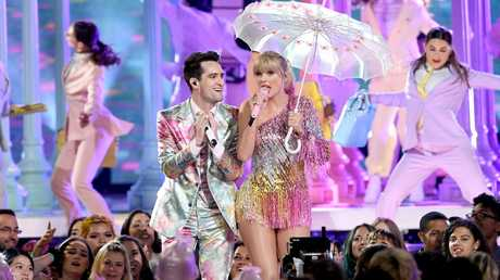 Taylor and Brendon perform. Picture: Kevin Winter/Getty