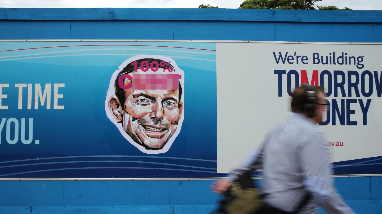 One of the vile posters of former prime minister Tony Abbott posted around Warringah yesterday. Picture: Tim Hunter
