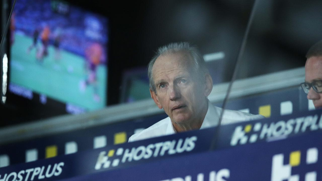 Rabbitohs coach Wayne Bennett looks on as his new team dismantles his old team. Picture: Phil Hillyard
