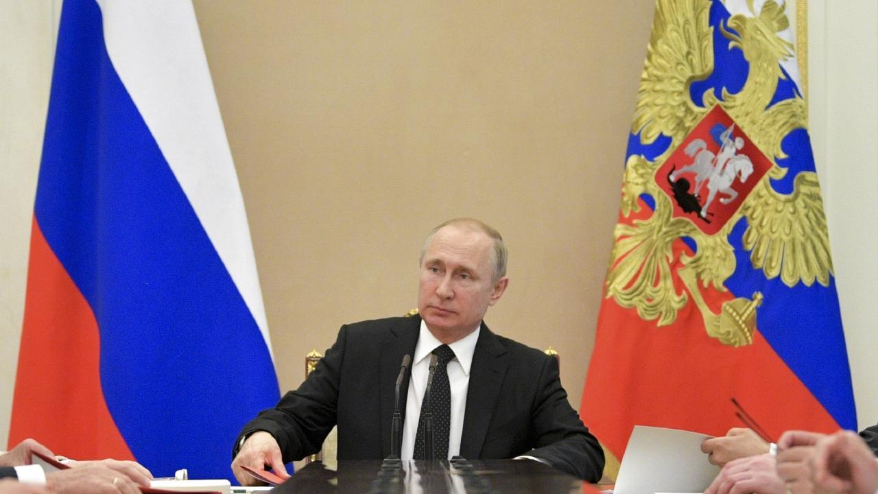 Russian President Vladimir Putin is crying foul. Picture: Alexei Druzhinin/Sputnik/Kremlin Pool Photo via AP