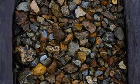 Auschwitz II-Birkenau, the actual stones of the rail line, 2016, photography by Dan Elborne