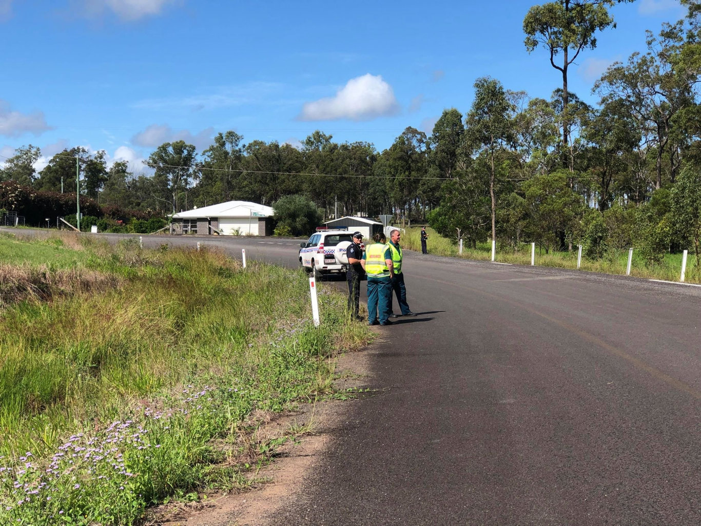 Police on scene of a search through bushland for a suspected taxi thief near the intersection of Three Mile Rd and the Bruce Hwy near Maryborough.