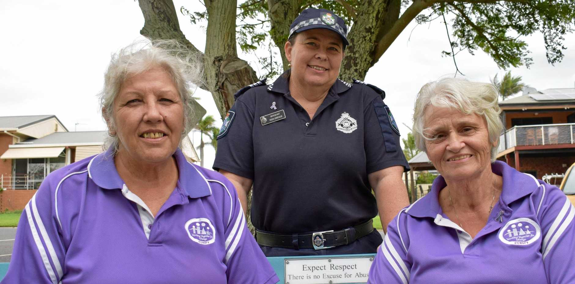 Karen Harris, Sgt Vicki Dredge and Linda Watson are encouraging Gladstone to 'Paint the Town Purple'