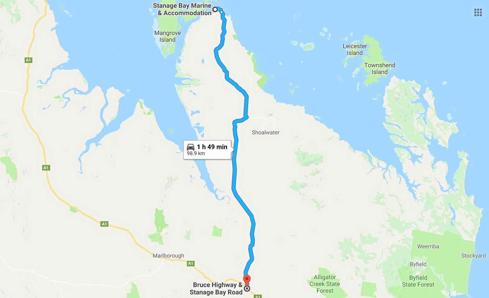 ROAD MAP: Stanage Bay Road is almost 100km in length from the coast to the Bruce Highway with travel times depending upon the condition of the dirt road.
