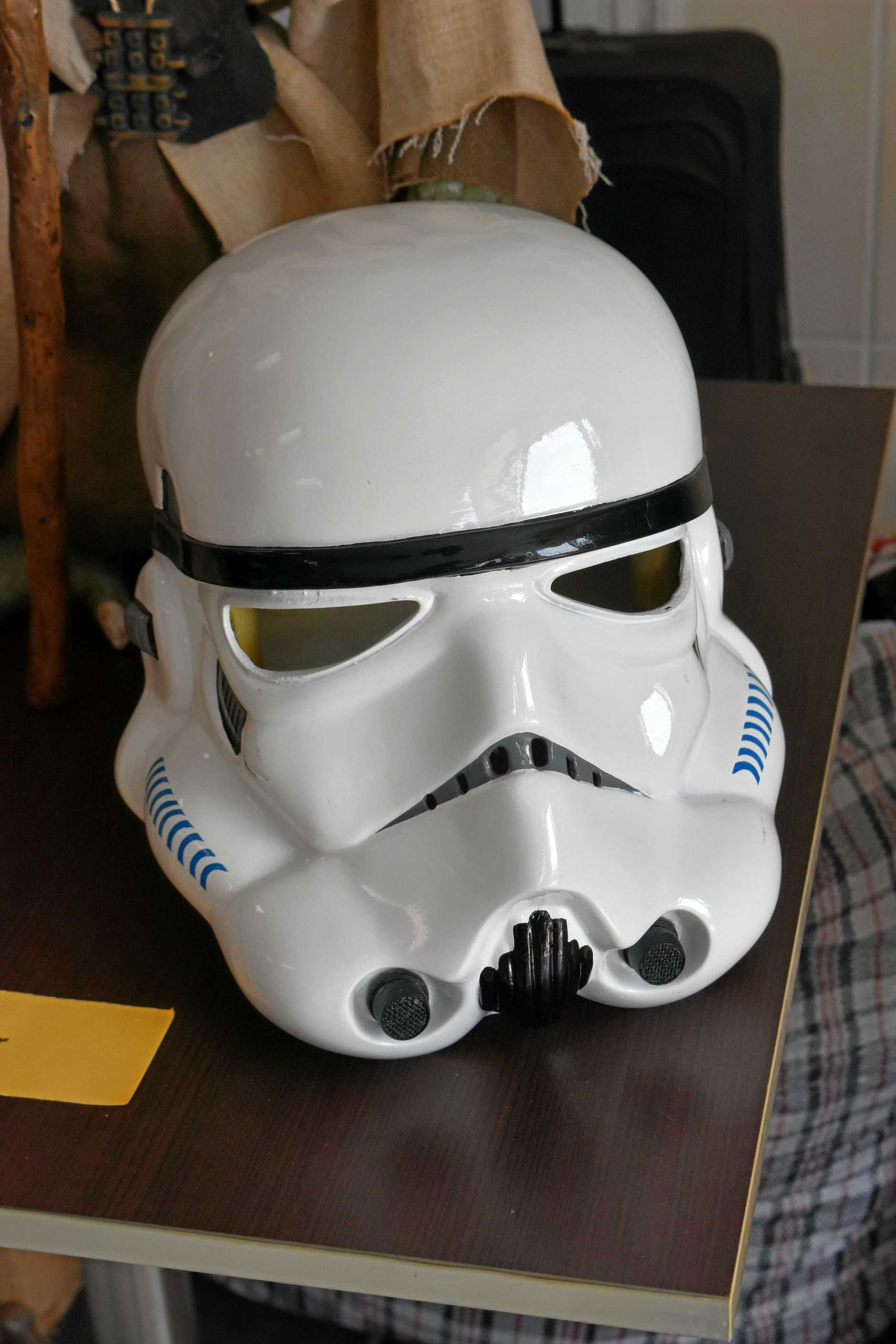 A full-size storm trooper helmet.