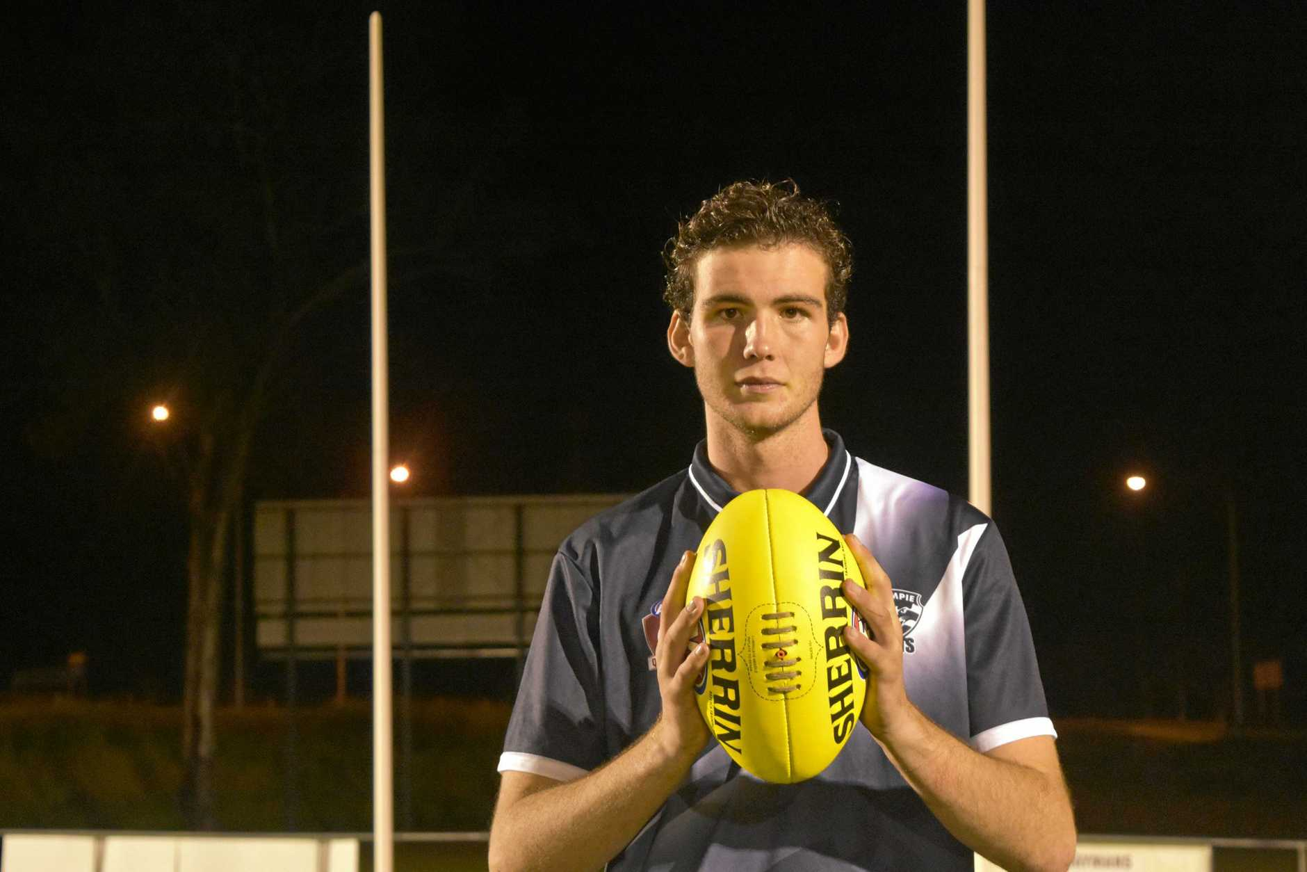 SHINING LIGHT: Gympie Cats ruckman Ronan Neville, 17, has a big future in the sport, according to his coach Dave Carroll.
