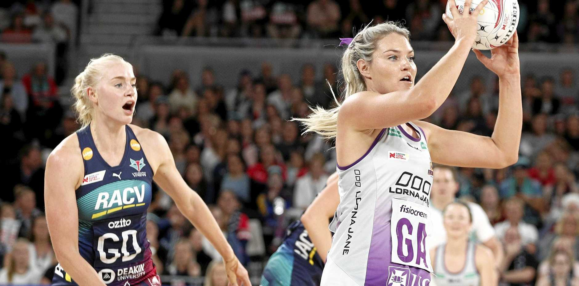 Gretel Tippett receives a pass during the round-one Super Netball match between the Melbourne Vixens and the Queensland Firebirds at Melbourne Arena last Saturday. Picture: Daniel Pockett/AAP