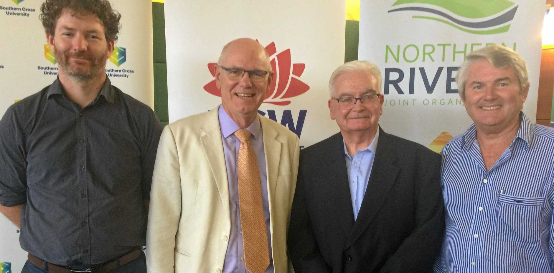 At the launch of the NSW Northern Rivers Region Freight and Supply Chain Strategy was Southern Cross University's researcher Andrew Swan (left) and Dr Ken Doust, with Chris Sharpe managing director of Richmond Dairies and Don Page chair of Regional Development Australia (RDA) Northern Rivers.