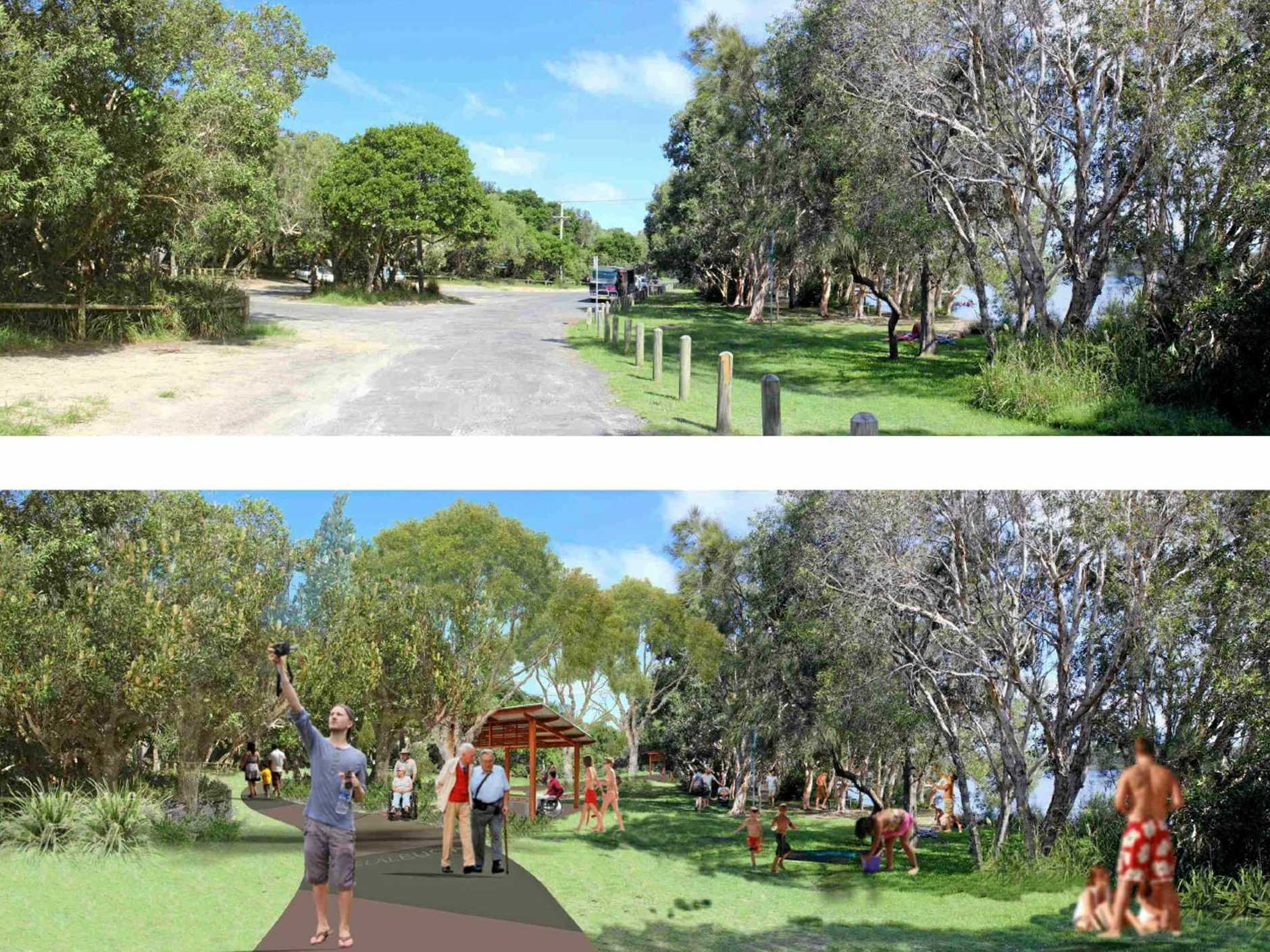 The eastern road at Lake Ainsworth and an artists impression of what the area will look like after Stage 2 is complete.