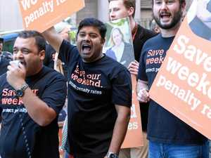 Workers take to streets to protest penalty rate cuts