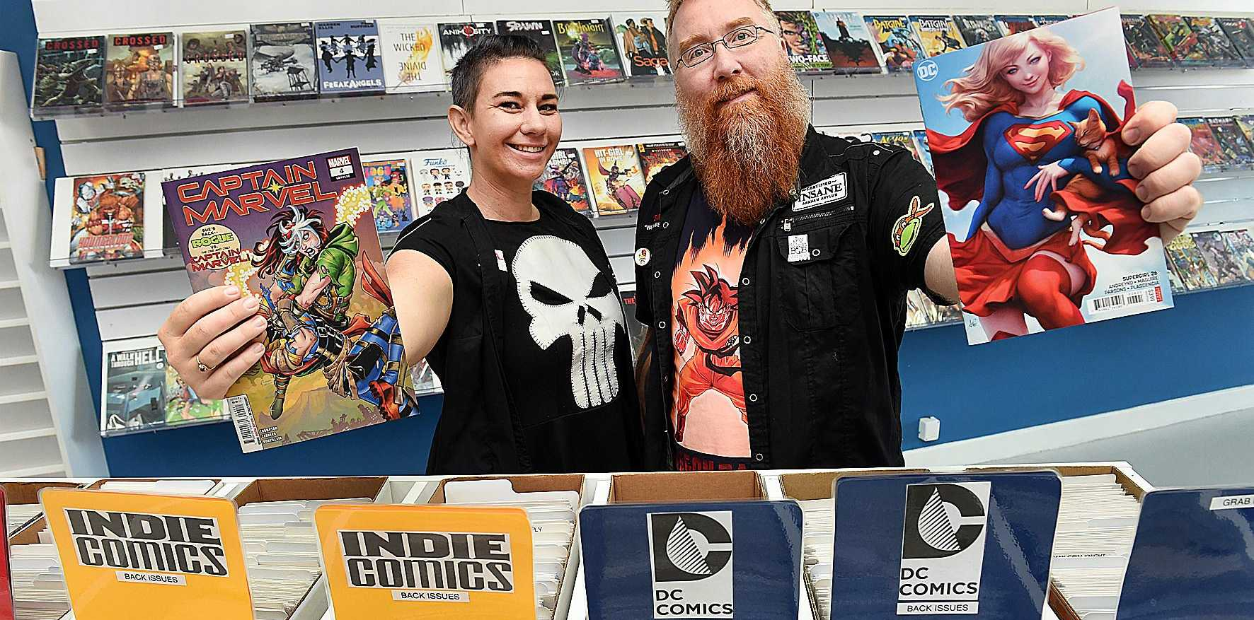 FREE COMIC BOOK DAY: On May the fourth, armed with free comics, an international comic artist and 12 national Cos players Comics n Pop owners Carla and Simon Thorton will raise funds for local drug and alcohol rehabilitation centre Bayside Transformations.