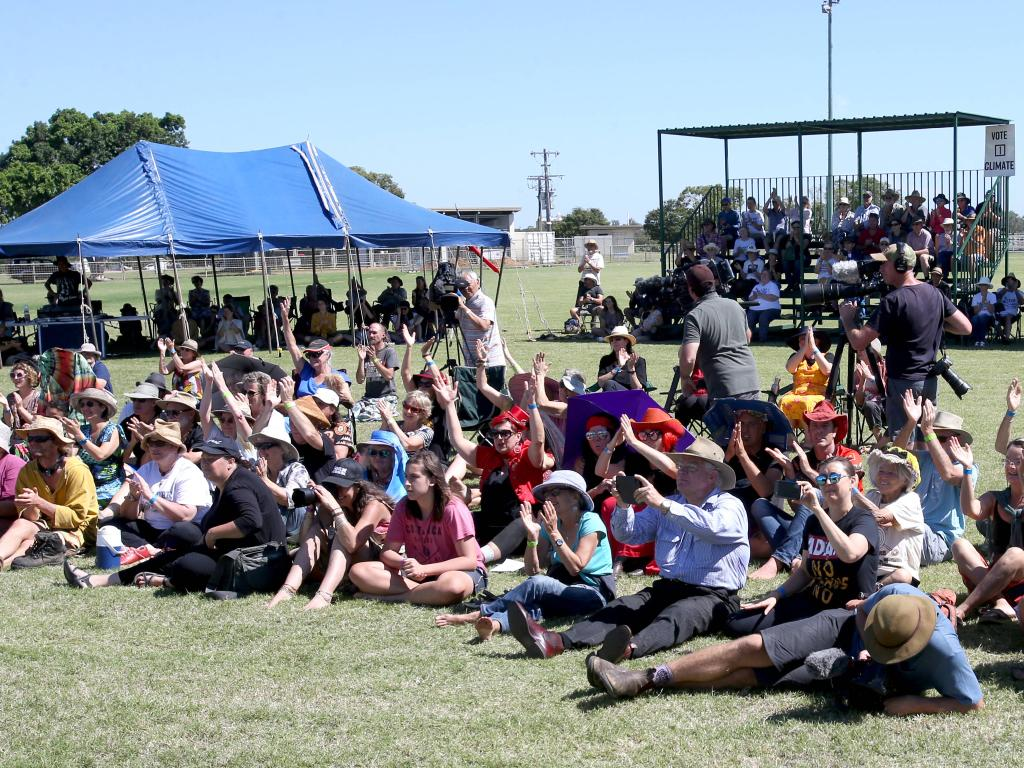 The crowd at the indigenous welcome to country event, during the Bob Brown led Anti Adani Convoy, Clermont show grounds, on Sunday April 28, 2019. Picture: AAP/Steve Pohlner