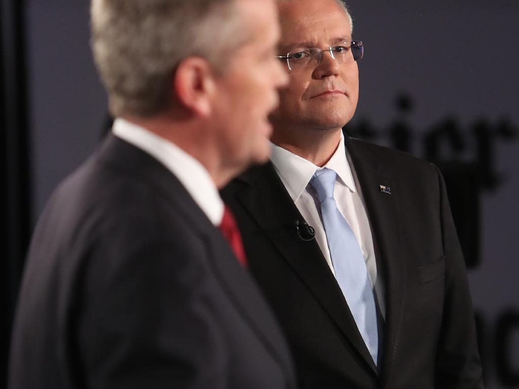 The Opposition Leader accused the PM of being a 'space invader' during the Sky News/Courier-Mail face-off. Picture: Kym Smith/News Corp Australia