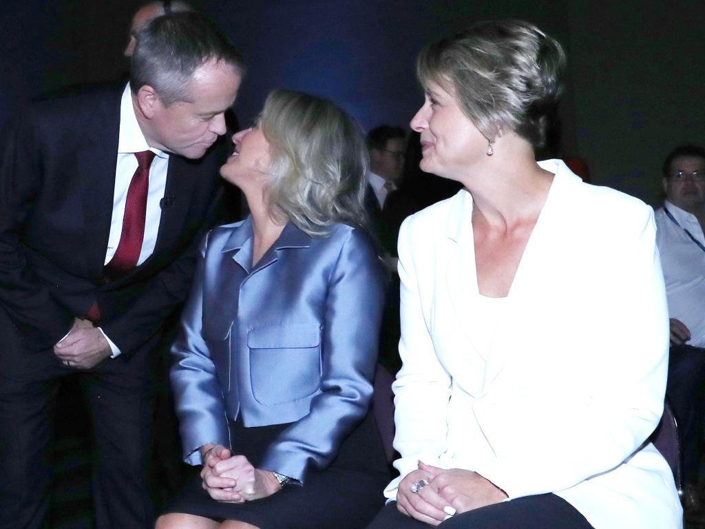The audience narrowly gave the debate to Mr Shorten, seen kissing his wife Chloe Shorten as she sits beside Labor senator Kristina Keneally. Picture: Gary Ramage/News Corp Australia