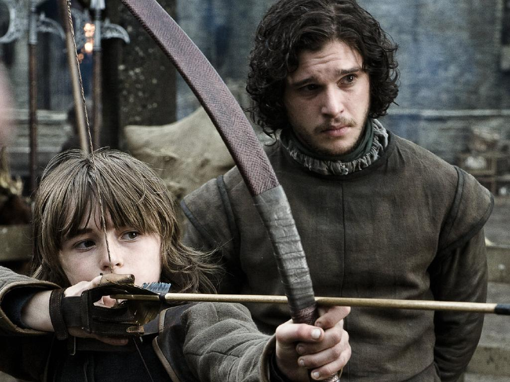 Isaac Hempsted Wright As Bran Stark and Kit Harington as Jon Snow in the early days of Game Of Thrones.  Picture:  HBO