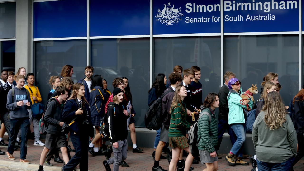 Dozens of protesters hit Simon Birmingham's office. Picture: Kelly Barnes