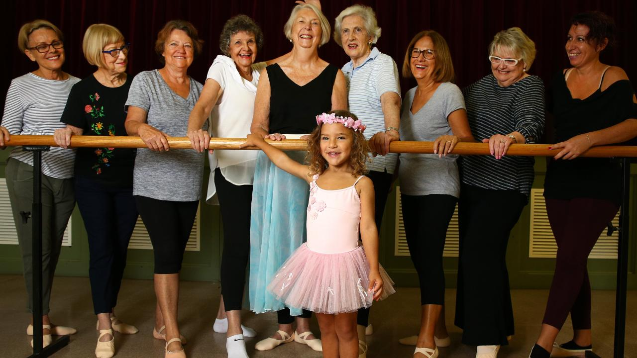 The Silver Swan ballet class was created after 82-year-old Louise Aubrey (centre) convinced Marilyn Culpitt there was demand. Picture: Adam Head
