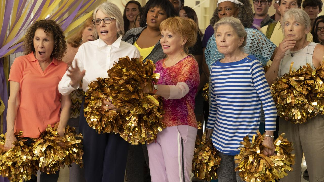 Diane Keaton and Jacki Weaver star of members of a real-life seniors cheersquad in their new movie, Poms. Picture: Roadshow Films