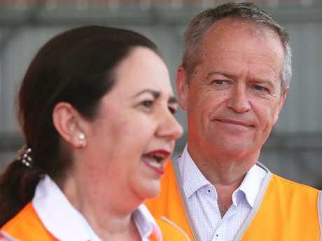 Premier Annastacia Palaszczuk with federal Opposition Leader Bill Shorten earlier this year