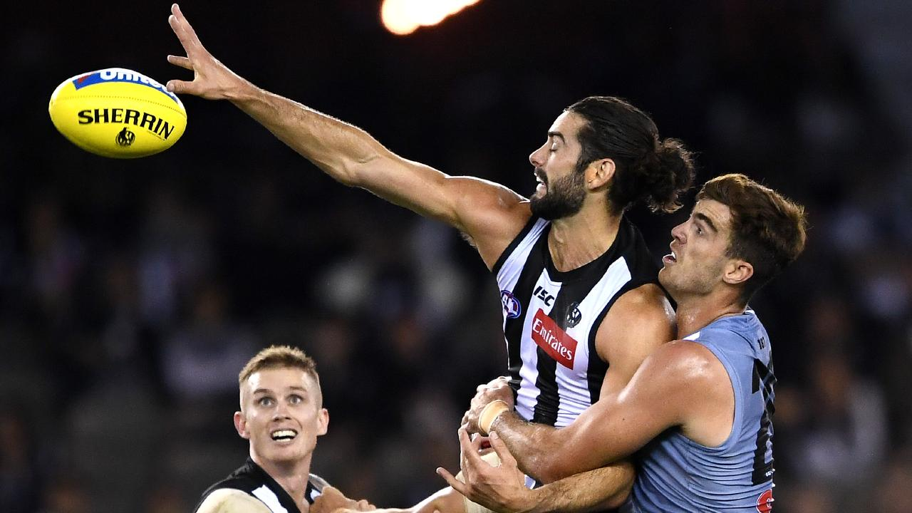Brodie Grundy was a key figure for the Pies, as usual. Picture: Getty Images