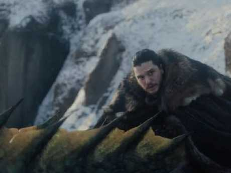 Jon Snow aka Kit Harington riding a dragon in Game of Thrones.  Picture:  HBO