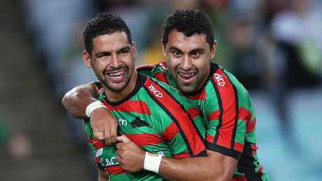 The Rabbitohs look to be enjoying their time on the paddock Picture. Phil Hillyard