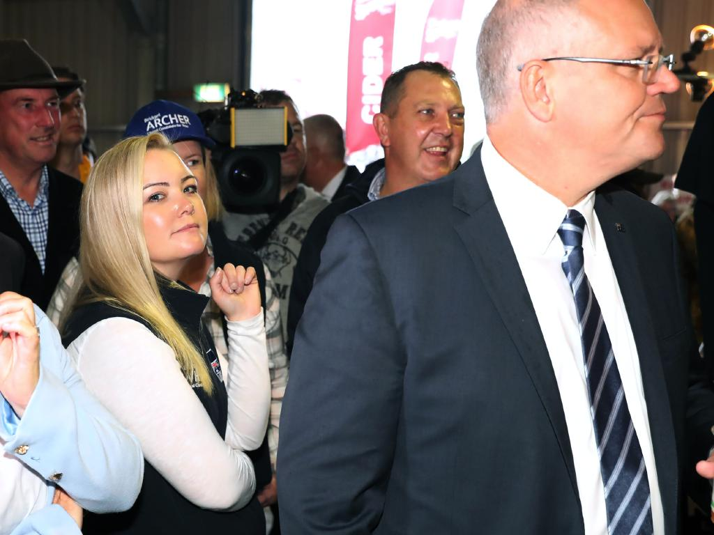 Dumped Liberal candidate Jessica Whelan with Prime Minister Scott Morrison. Picture: Gary Ramage