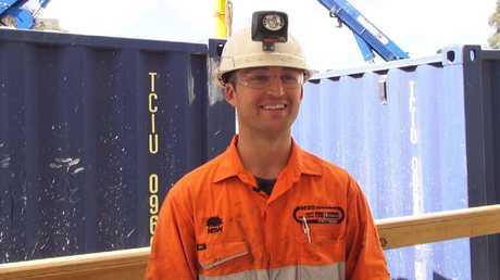 Troy Wilkinson in construction worker mode.