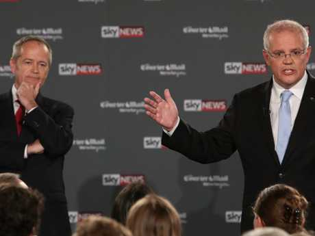 Mr Morrison appeared focused on the man next to him. Picture: Kym Smith/News Corp Australia