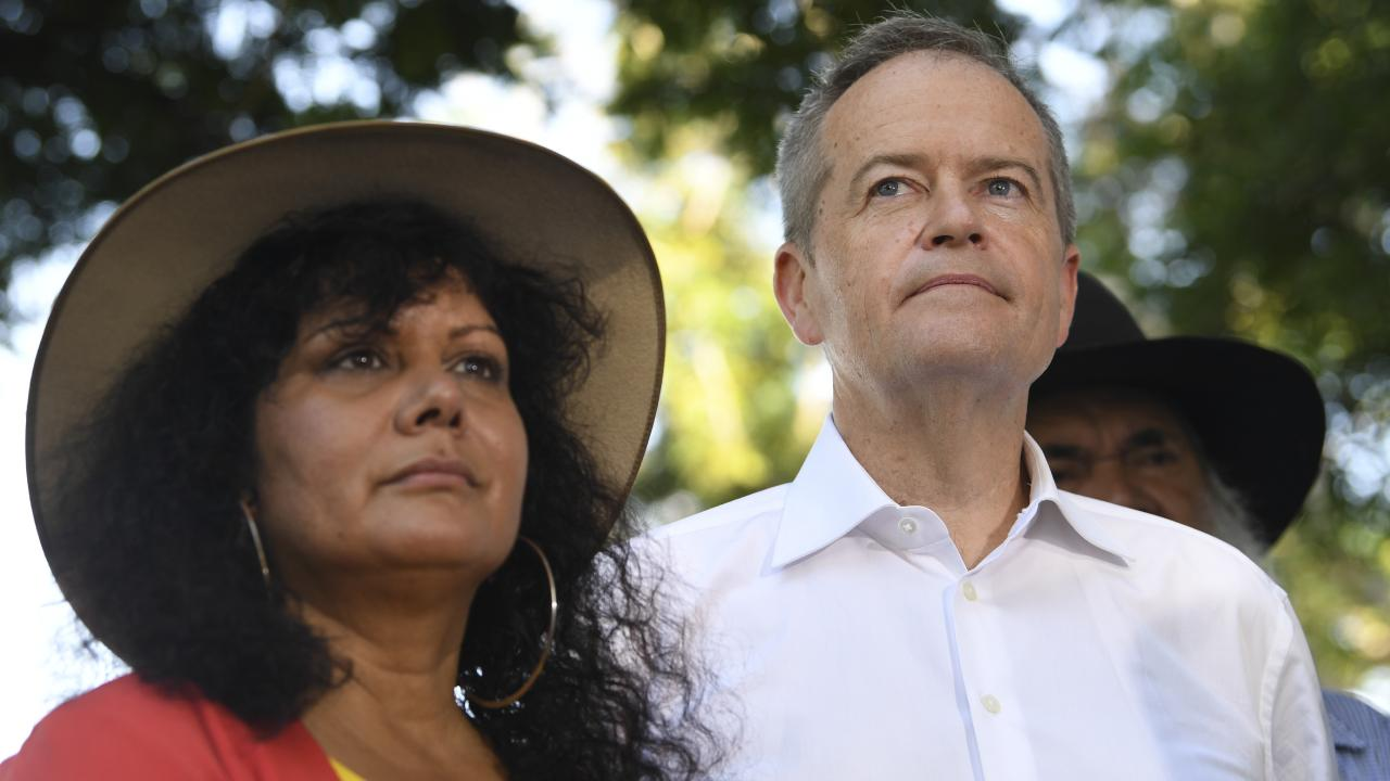 Opposition Leader Bill Shorten with Senator Malarndirri McCarthy recently