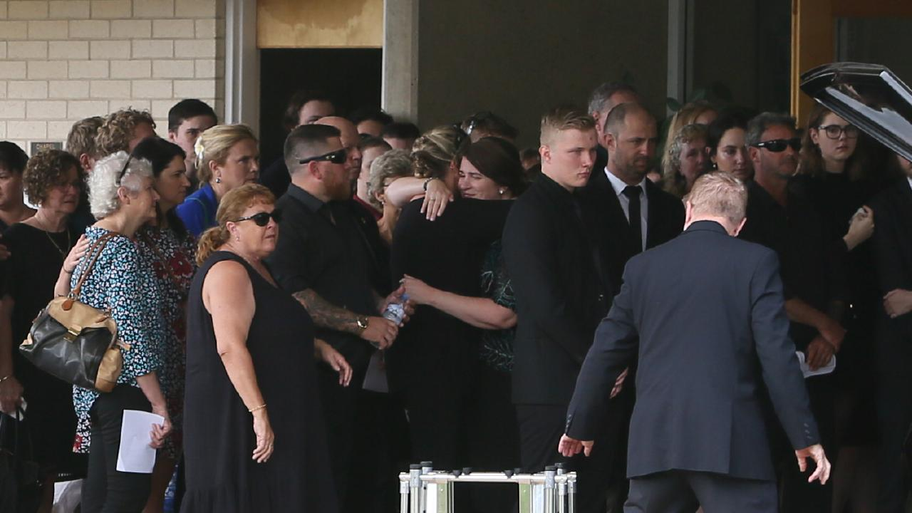 Mourners at St Mary MacKillop Church in Birkdale for the funeral of  Brisbane soldier Liam Wolf. (AAP Image/Richard Waugh)