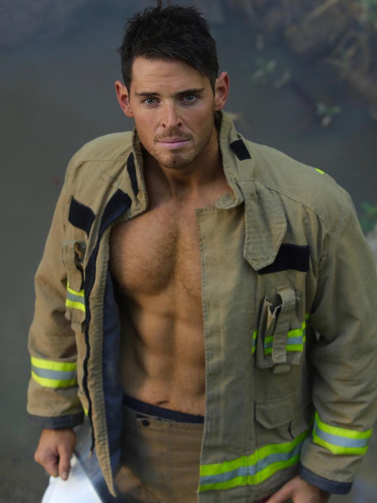 … and here he is for the 2019 Australian Firefighters Calendar. Picture: Brett Cunliffe/Australian Firefighters Calendar