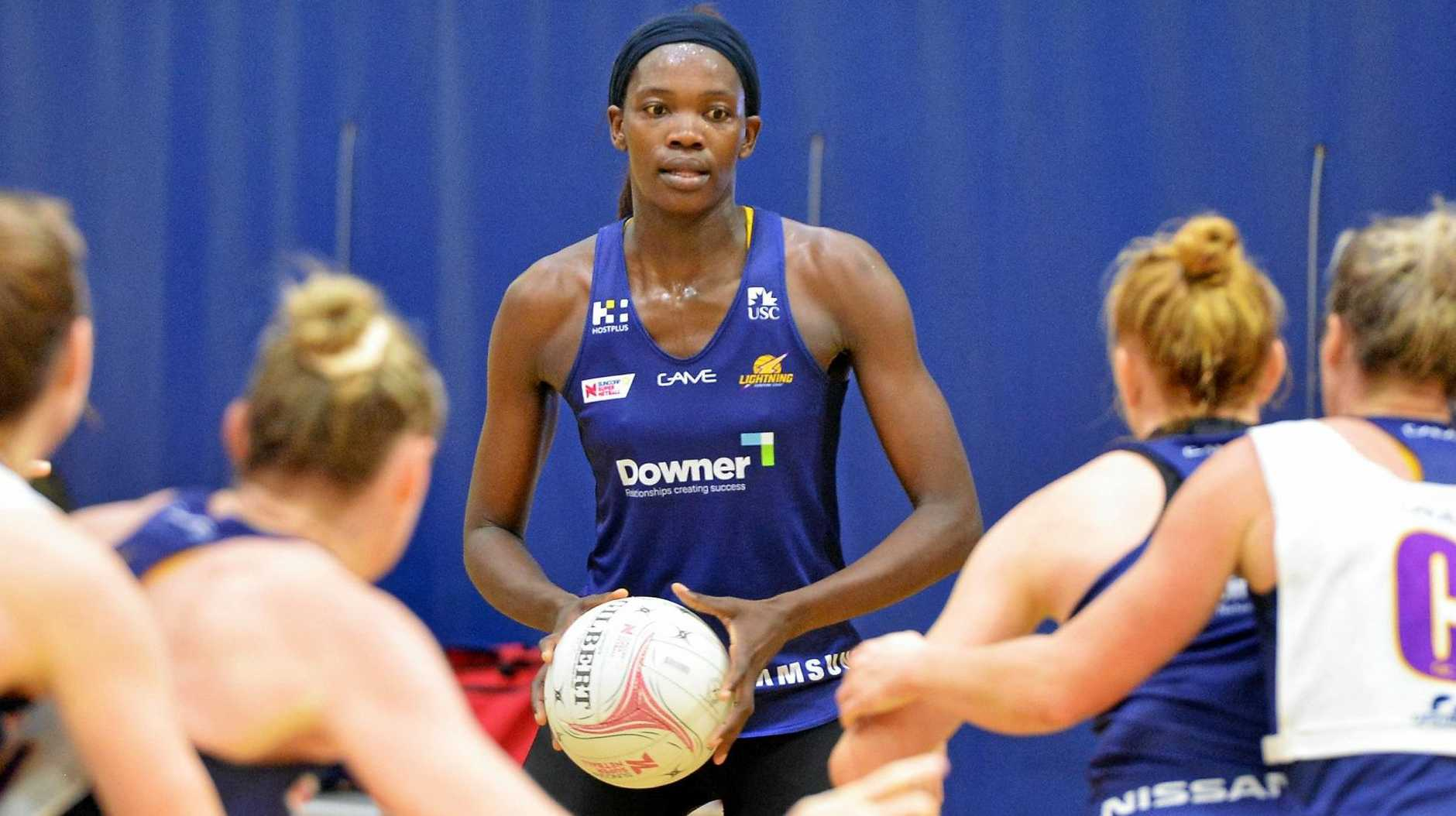 STRONG: Sunshine Coast Lightning's Phumza Maweni in action at training this week.