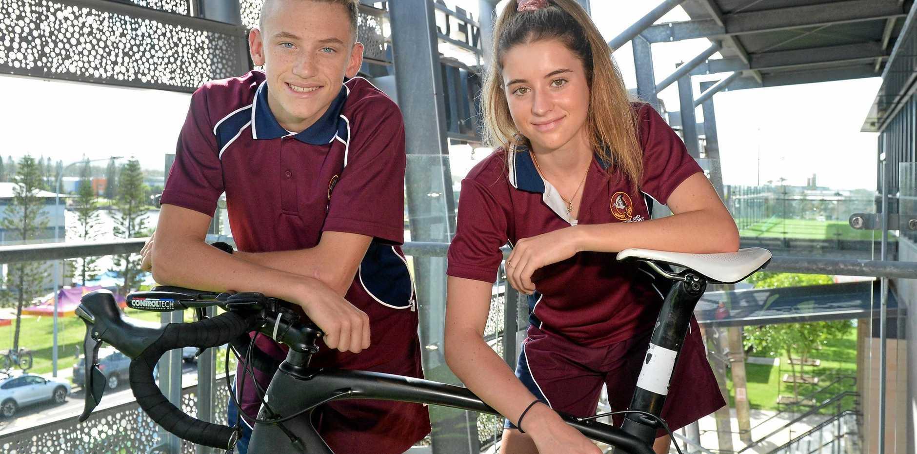 KEEN: Sunshine Coast athletes Peyton Craig and Chloe McLennan are ready for the School Sport National Triathlon Championships at Lake Kawana this weekend.