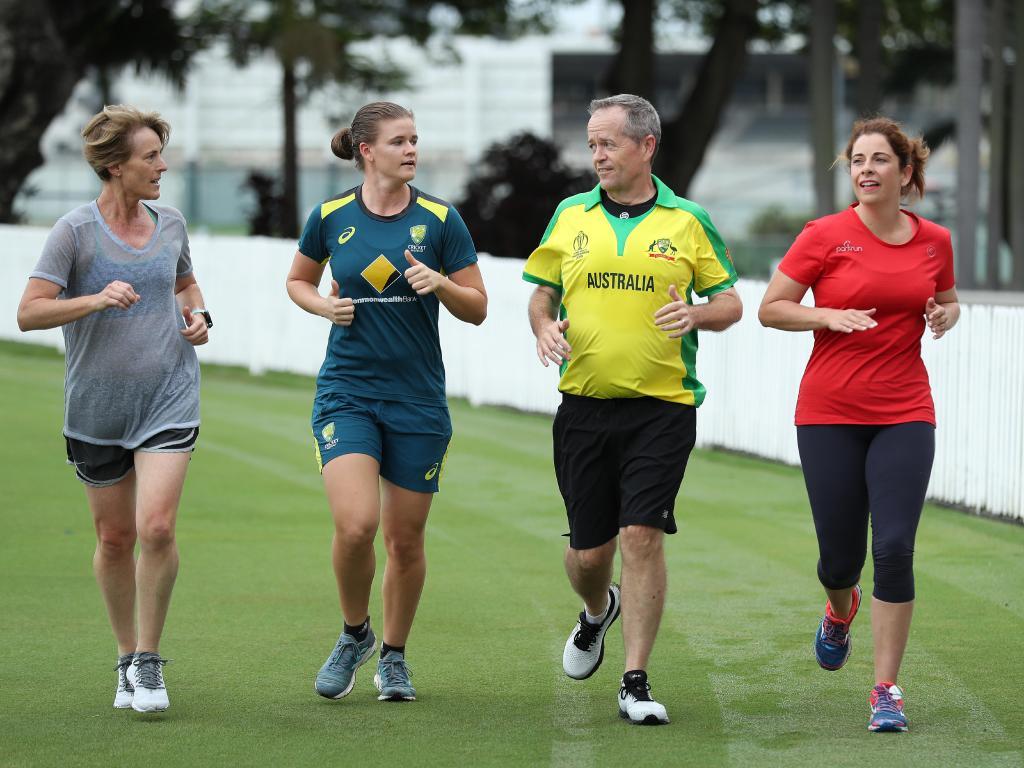 Bill Shorten attends Allan Border Field in Albion, Brisbane, where he announced a Shorten Labor Government will invest $7 million in Cricket Australia towards the creation of a National Cricket Campus. Picture: Liam Kidston