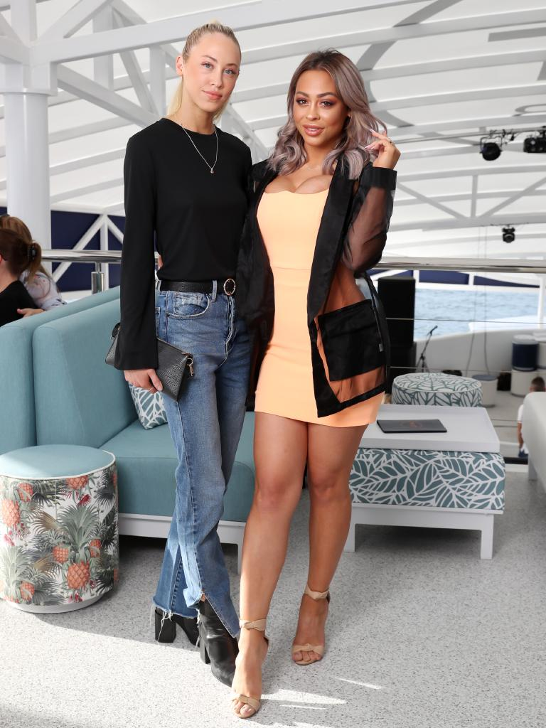 Launch of the ICANIWILL show on super yacht The Yot Club. Amy and Emilee Hembrow. Picture: NIGEL HALLETT