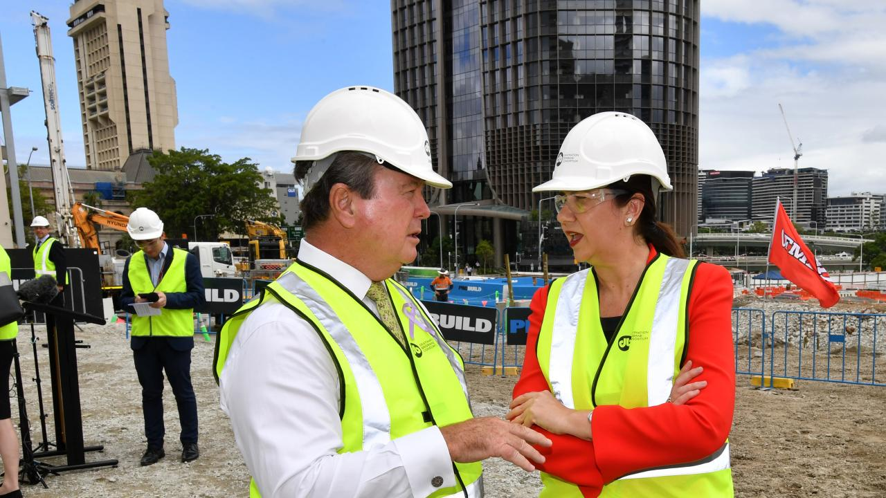 Queensland Premier Annastacia Palaszczuk joins Star Entertainment Group Chairman John O'Neill to mark the construction phase of the $3.6 billion Queen's Wharf casino project.