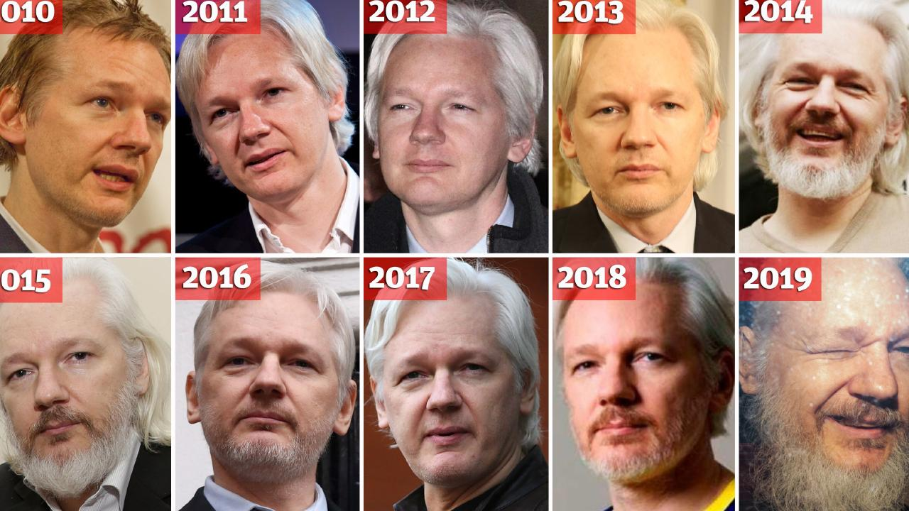Julian Assange throughout the years. Picture: Getty