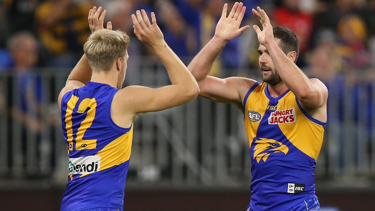 Oscar Allen and Jack Darling celebrate a goal for the Eagles. Picture: Getty Images