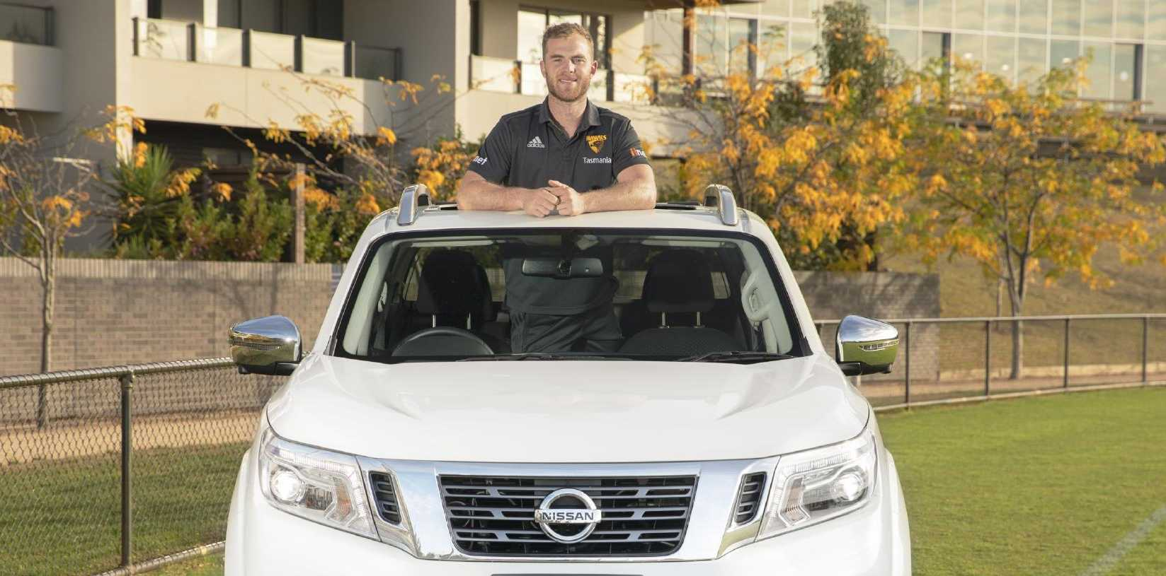 Hawks' Tom Mitchell in his Nissan Navara ute.